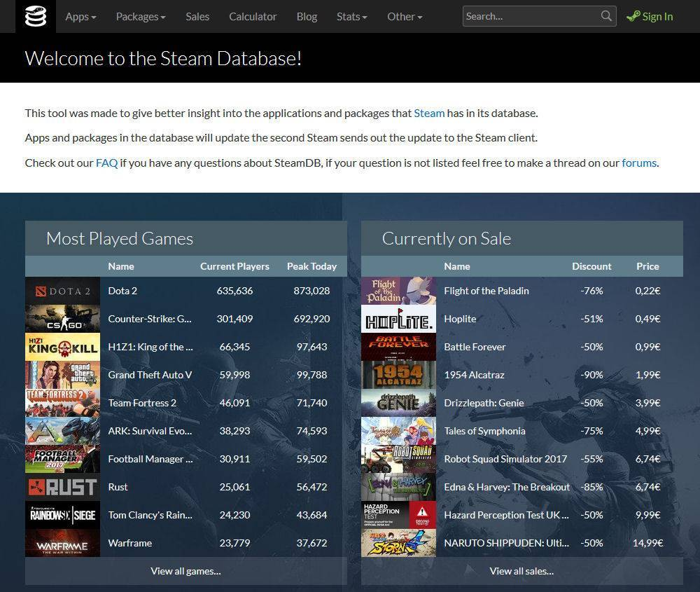 Steam Database