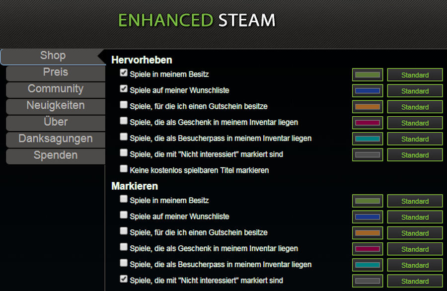 Enhanced Steam Markierungen
