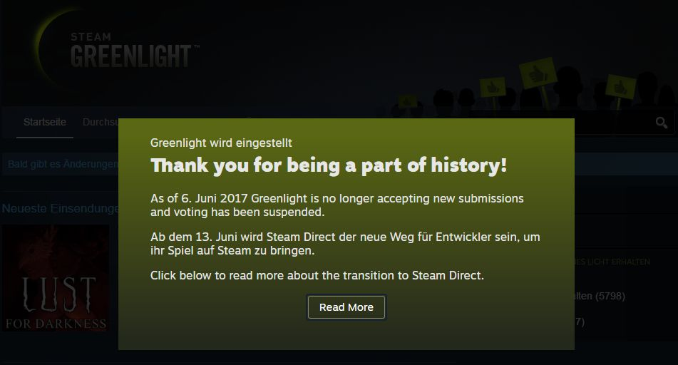 Steam Greenlight Closed