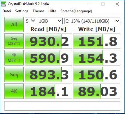 MSI Nightblade MI3 - Crystal Disk Mark Benchmark