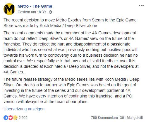 Metro Exodus Epic Facebook