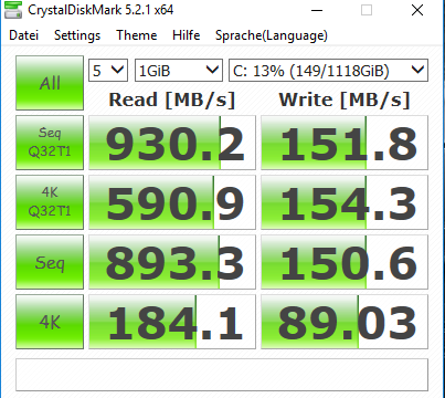 MSI Nightblade MI3 - Crystal Disk Mark Benchmark
