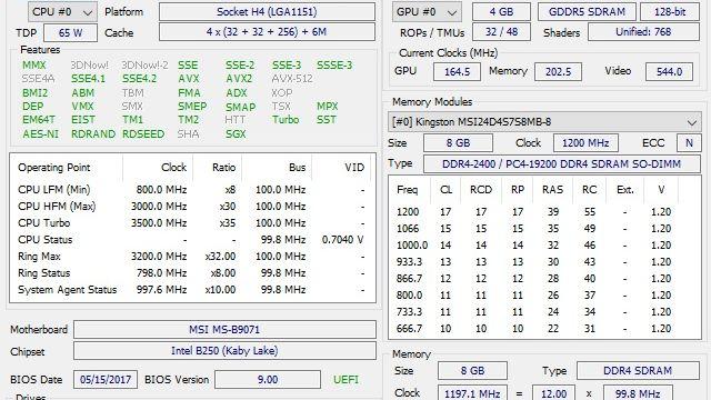 MSI Nightblade MI3 - Hardwareinfo